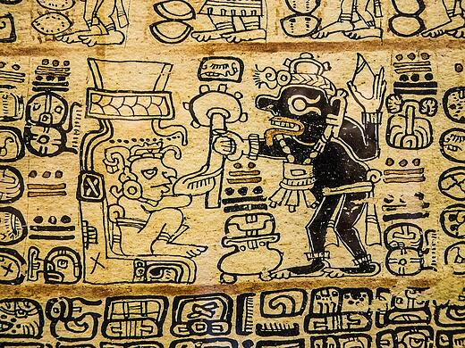 Aztec ancient drawings and language