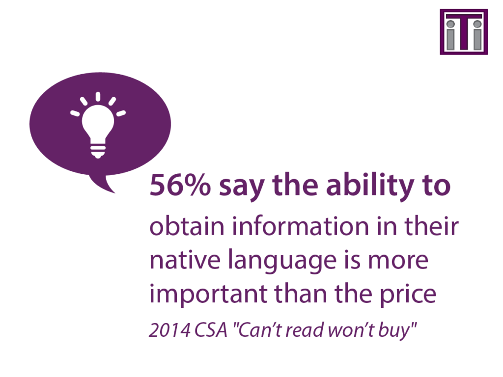 56% say the ability to obtain information in their native language is more important than the price
