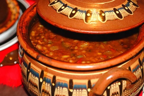 Bulgarian navy beans in a clay pot