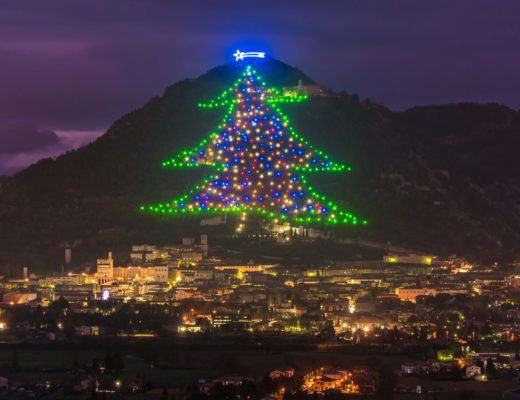 Gubbio Christmas Tree near Lake Trasimeno in the Umbria region of Italy. Very large Christmas tree made up of lights on the side of a hill