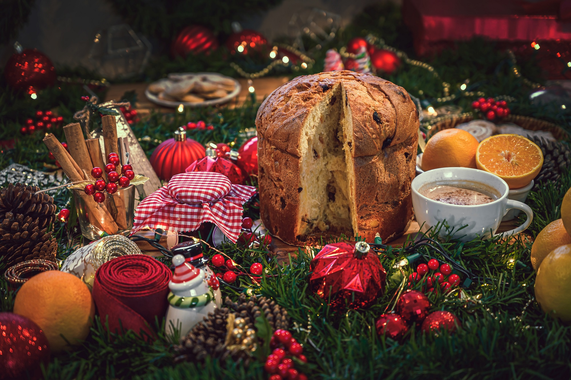 Christmas feast with panettone at the center