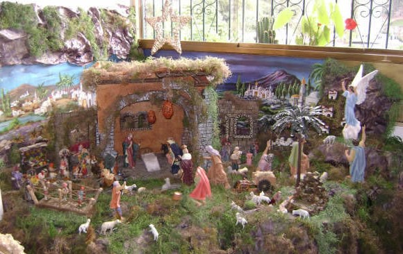 Very detailed and large Christmas nativity scene