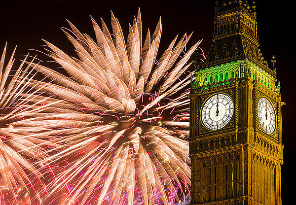 new years traditions around the world. Fireworks behind big ben in London