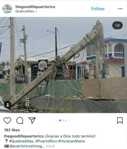 Capture from Instagram of destruction in Puerto Rico from Hurricane Maria