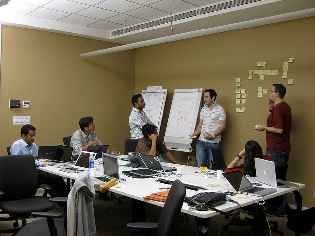 Group of people working on a website localization project