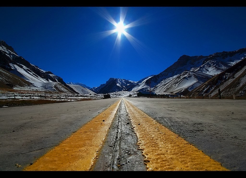 Argentina road to Patagonia mountains
