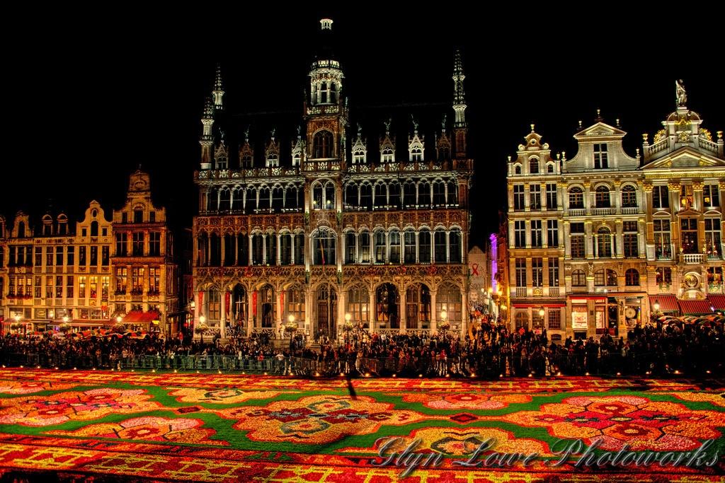 Belgium buildings at night