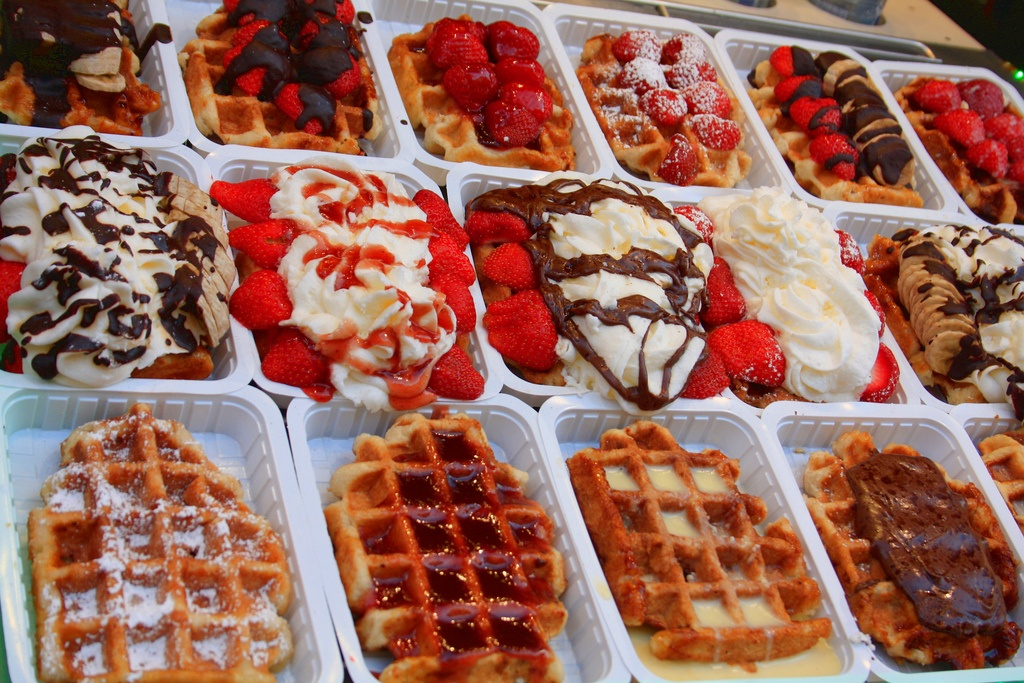 Belgium waffles on display