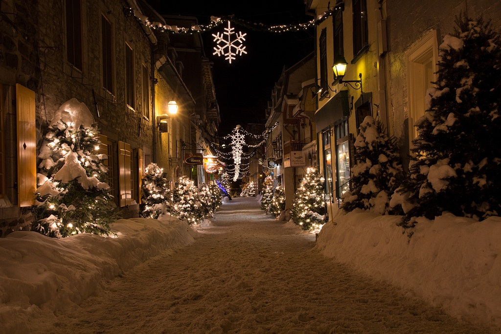 Old Quebec city streets covered in snow