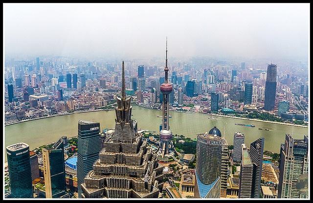 Shanghai skyline with smog