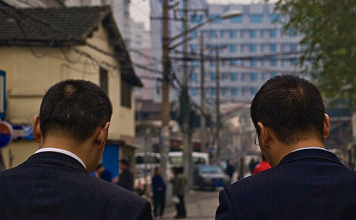 Business men walking down the street