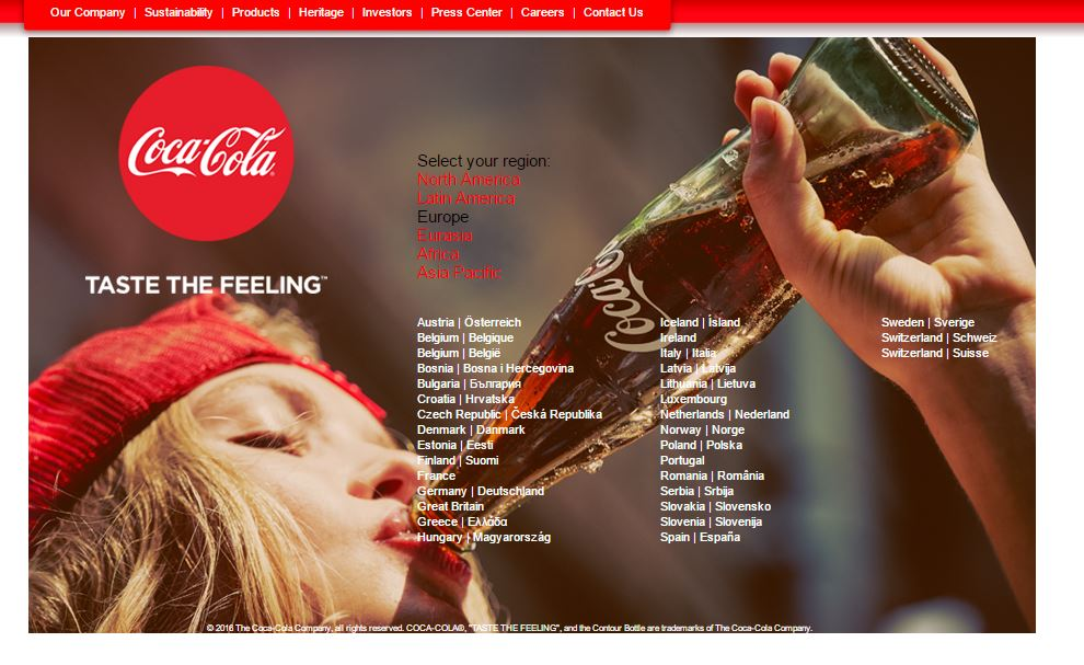 Coca Cola Global Page