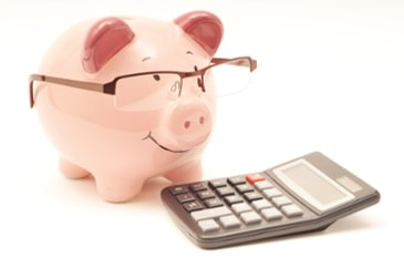 Piggy bank with a calculator