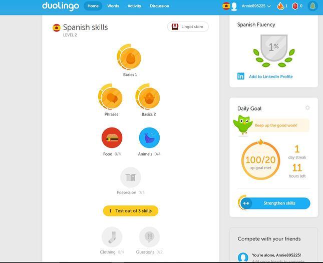 Duolingo dashboard