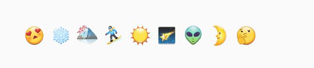 heart eye emoji, snowflake emoji, mountain emoji, snowboarder emoji, sun emoji, shooting star emoji, alien emoji, half moon emoji, pensive emoji