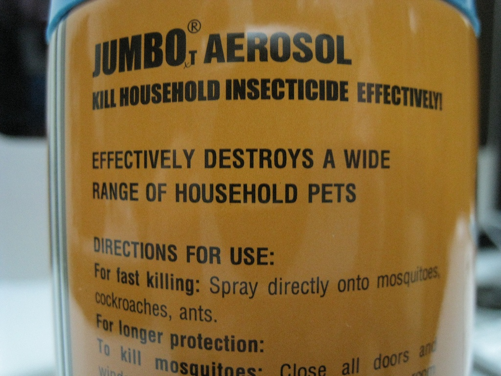 Jumbo Aerosol can that says kill household insecticide effectively