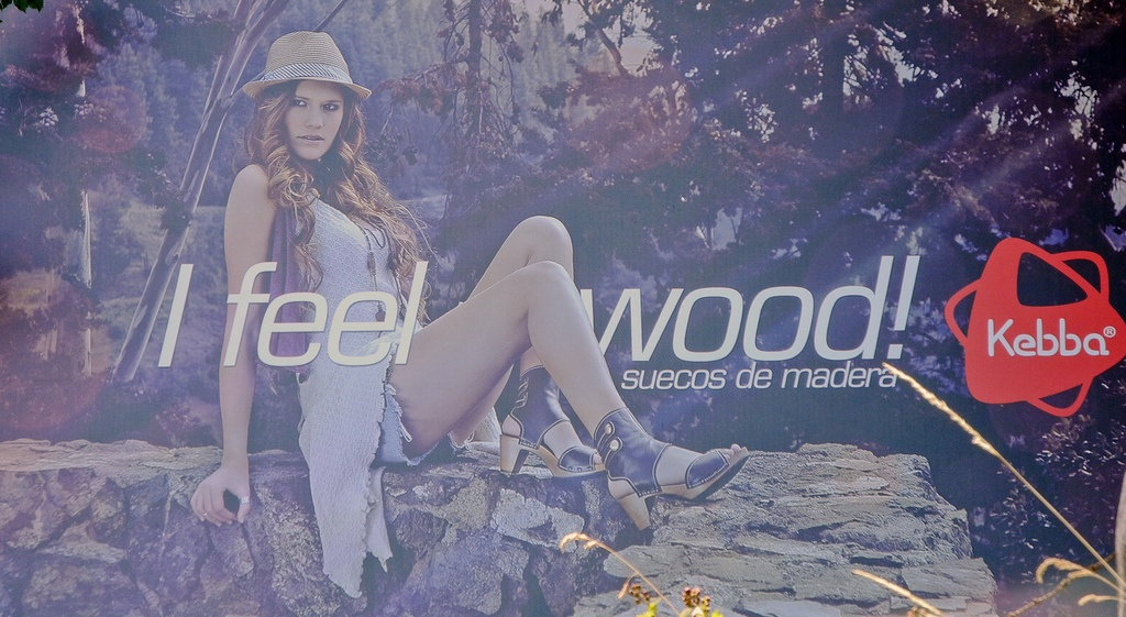 Advertisements that says I feel wood!