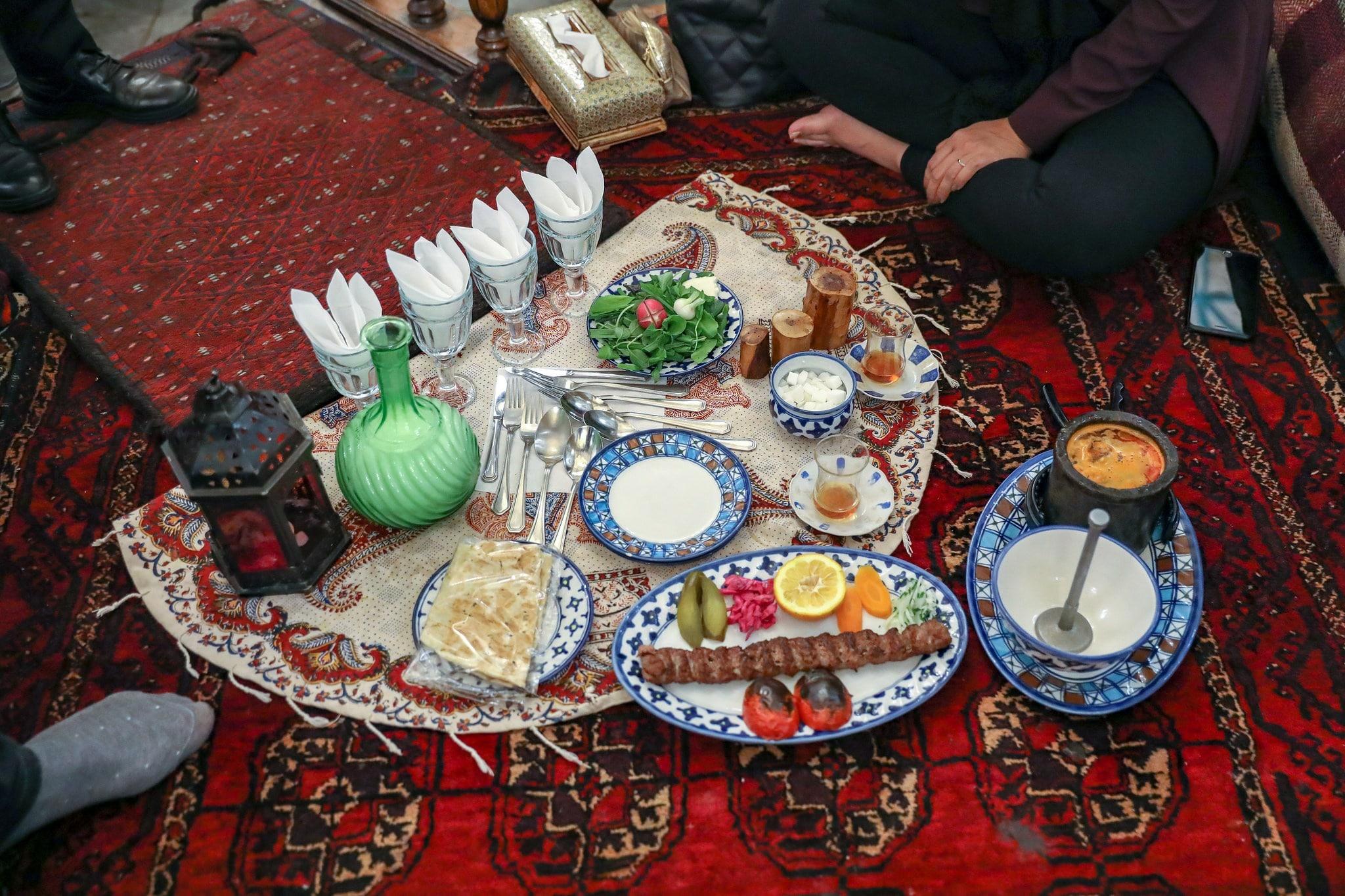 Dinner set up in Iran