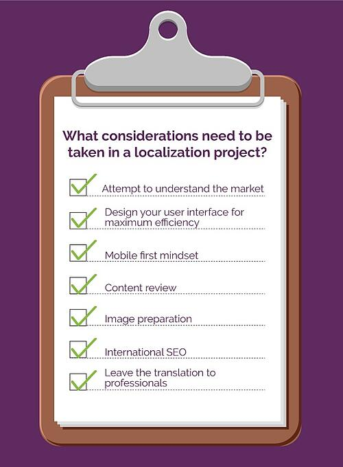 Localization Checklist. What considerations need to be taken in a localization project?