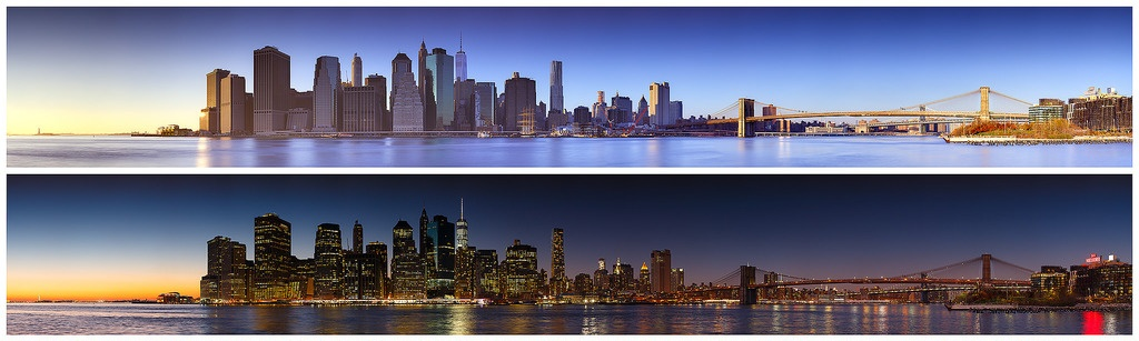 new york city skyline, day and night