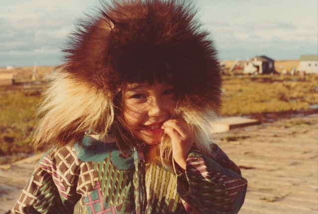 Inuit child with furry hat