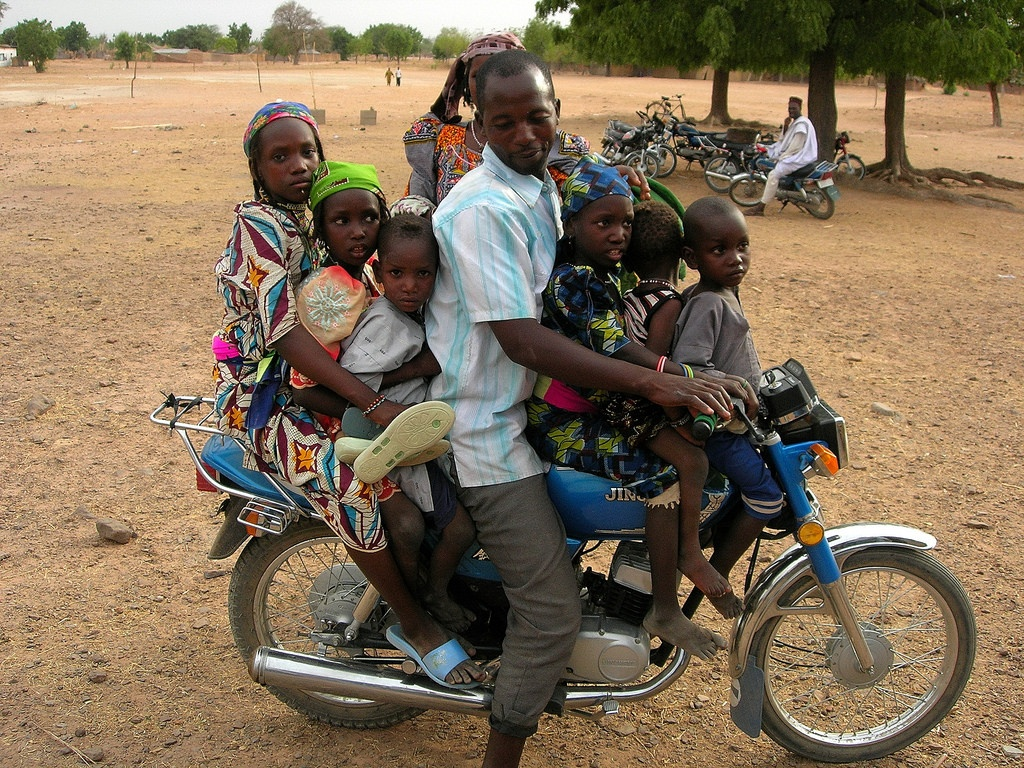 Nigerian family on motorbike