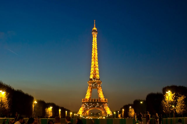 Eiffel Tower in Paris at dusk