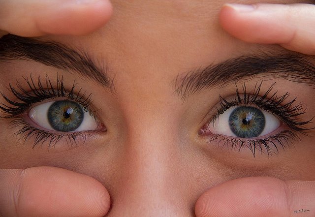 Close up of green blue eyes