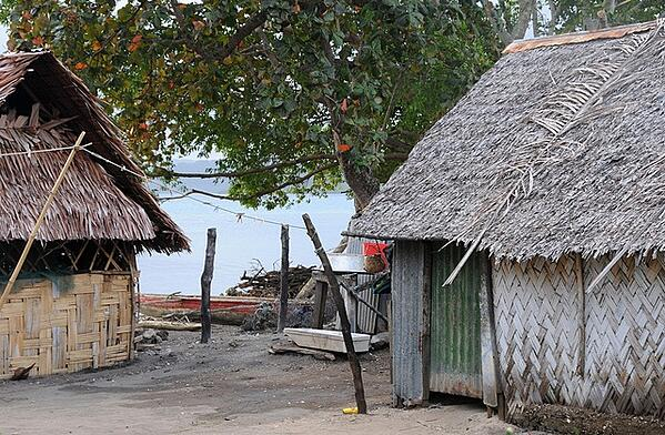 Huts on the ocean