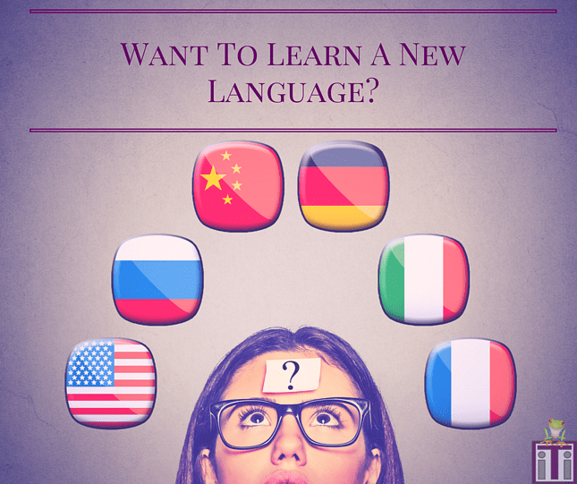 Want to learn a new language? Photo of a confused girl with a question mark on her forehead looking up at a bunch of different country flags