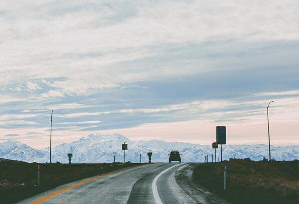 Utah highway overlooking mountains