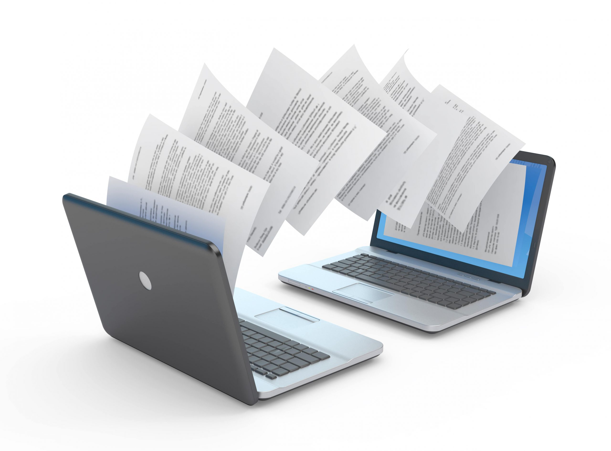 Documents being transferred between two laptops