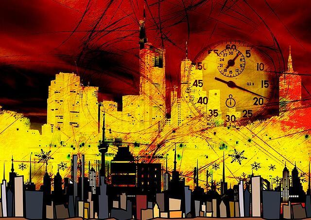 Artistic collage of future city skyscrapers landscape
