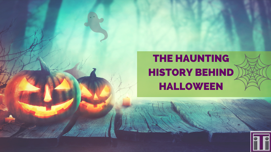 jack o lanterns and ghosts in the forest. history behind halloween