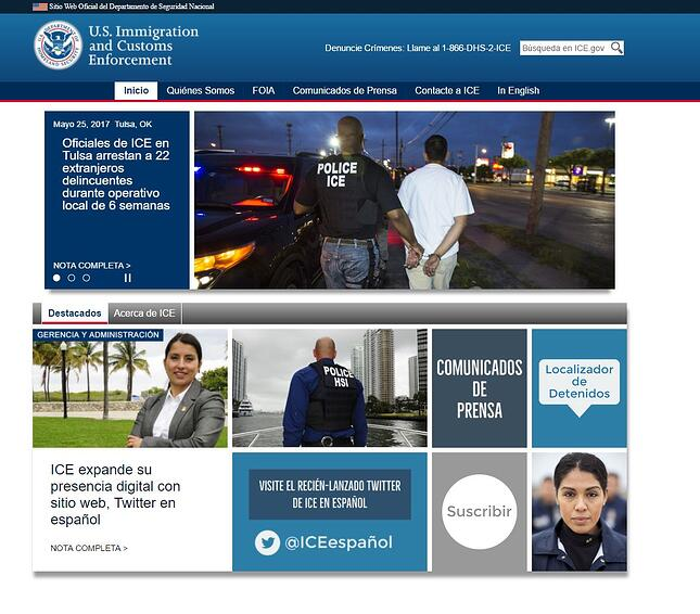 immigration and customs enforcement website screenshot