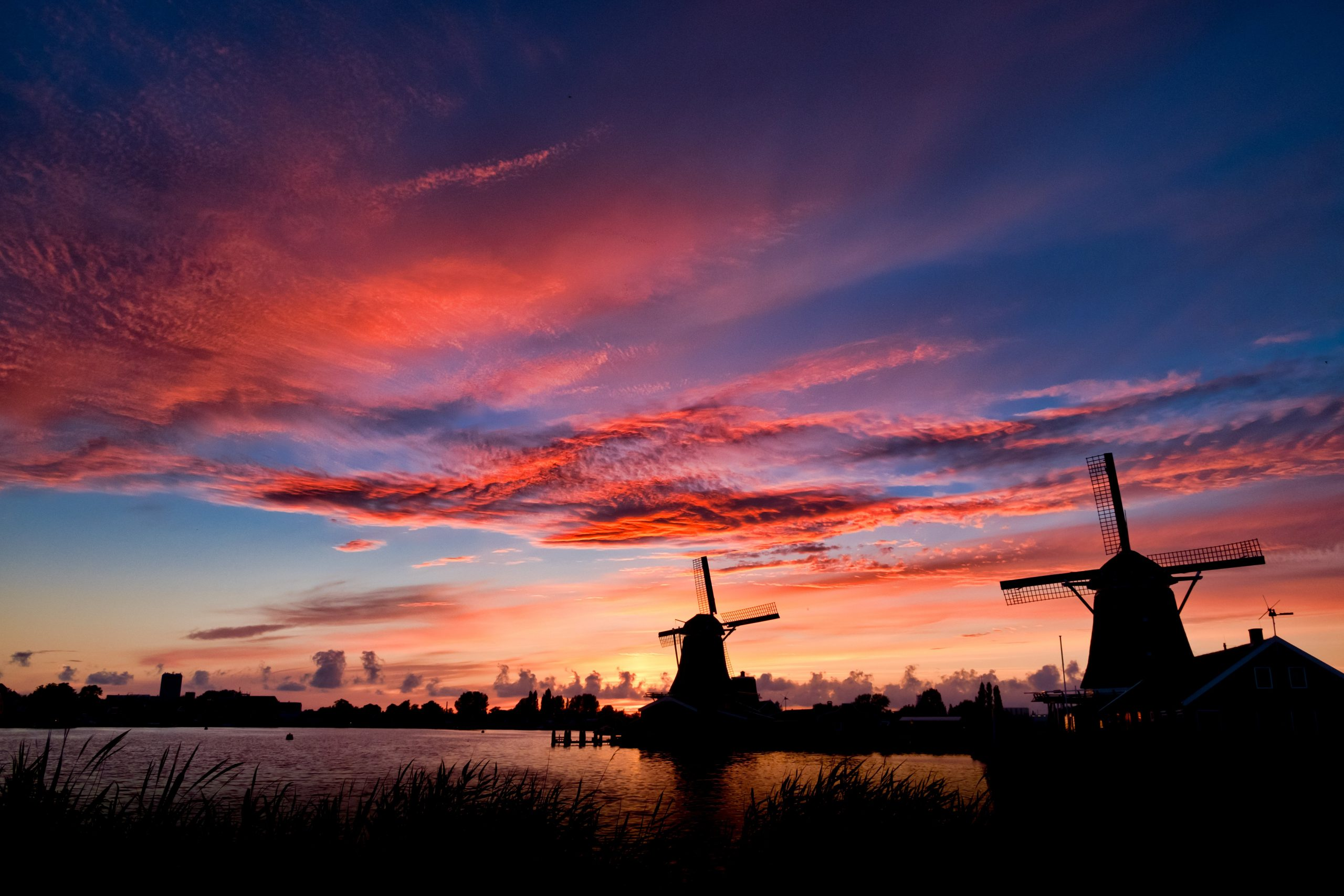 Holland wind mills at sunset