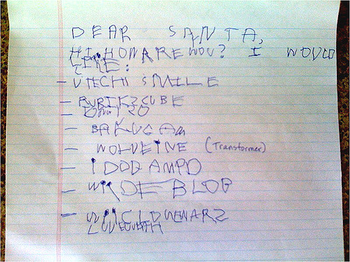 Childs letter to santa