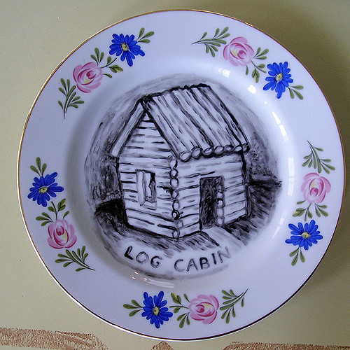 Hand painted with a log cabin
