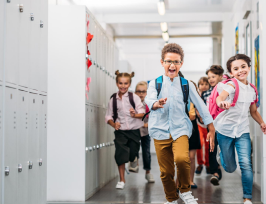 kids running in a hallway