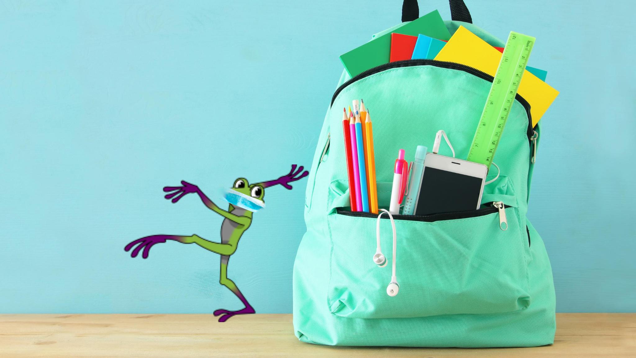 iTi's linguistic superhero Terpii grabs her backpack for school
