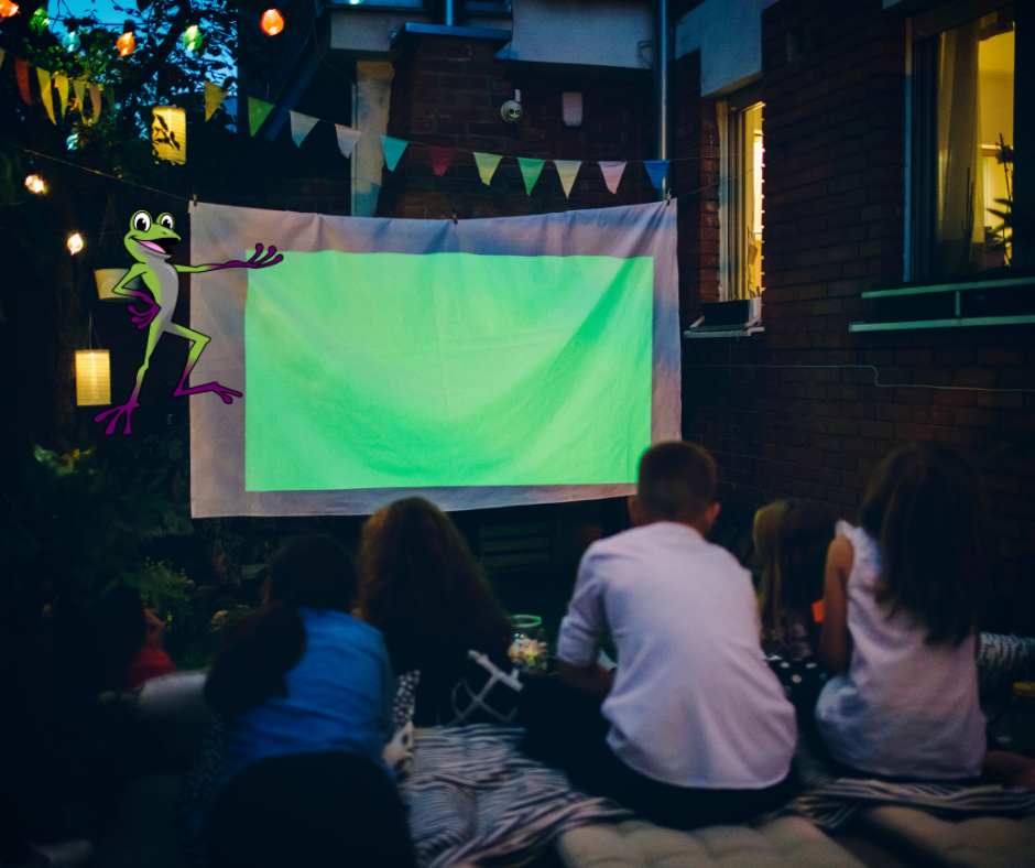 Terpii at a backyard movie for Halloween