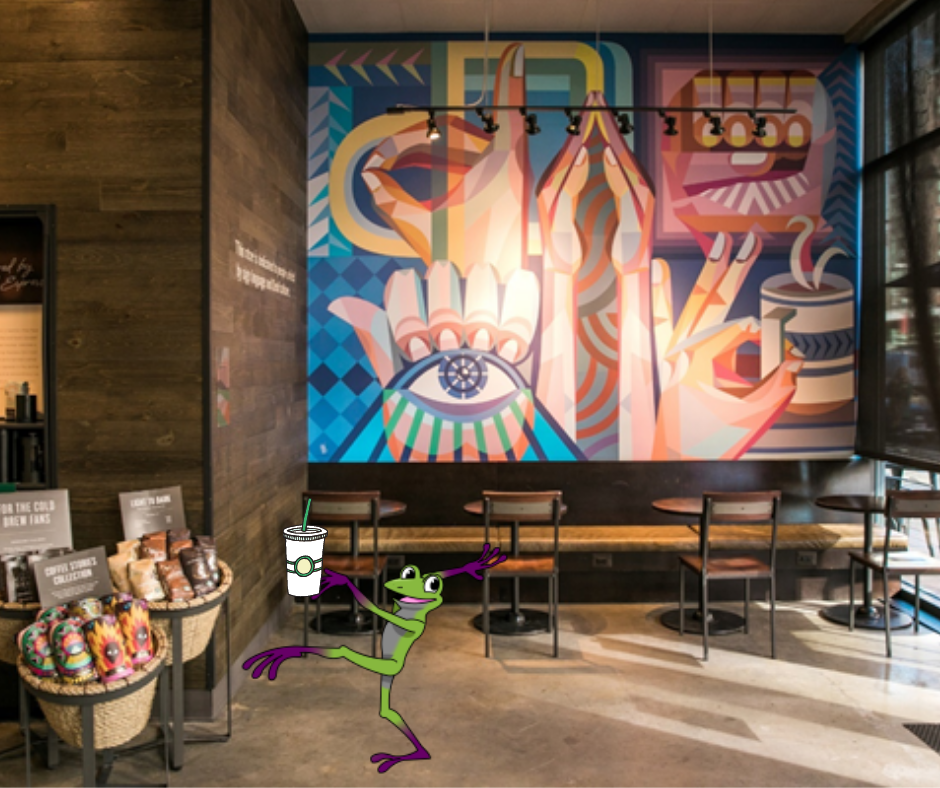 an American Sign Language mural with a frog in the forefront